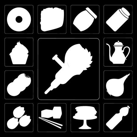 Set Of 13 simple editable icons such as Grinder, Water, Pancakes, Sushi, Pistachio, Onion, Cookies, Teapot, Cupcake on black background