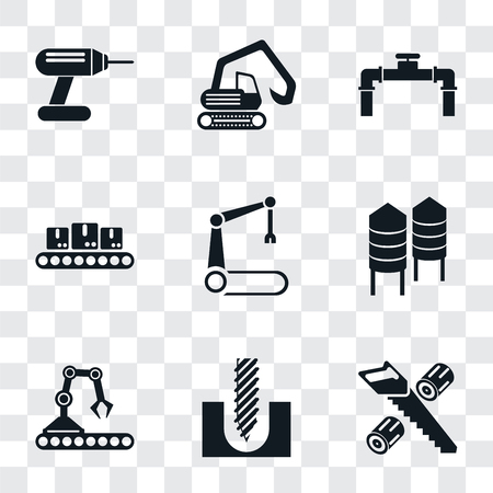 Set Of 9 simple transparency icons such as Wood cutting, Drill, Conveyor, Silo, Robotic arm, Pipe, Digger, can be used for mobile, pixel perfect vector icon pack on transparent Ilustrace
