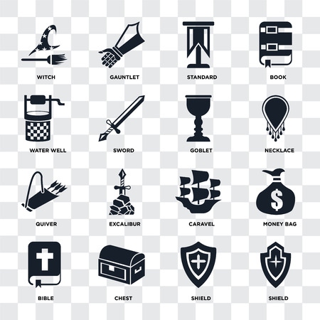 Set Of 16 icons such as Shield, Chest, Bible, Money bag, Witch, Water well, Quiver, Goblet on transparent background, pixel perfect Illustration