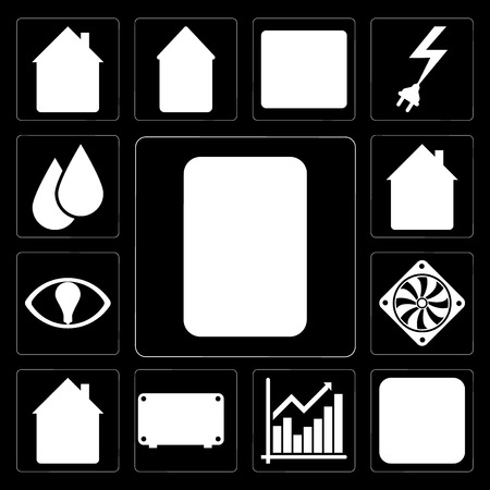 Set Of 13 simple editable icons such as Plug, Chart, Air conditioner, Home, Cooler, Smart, Water on black background
