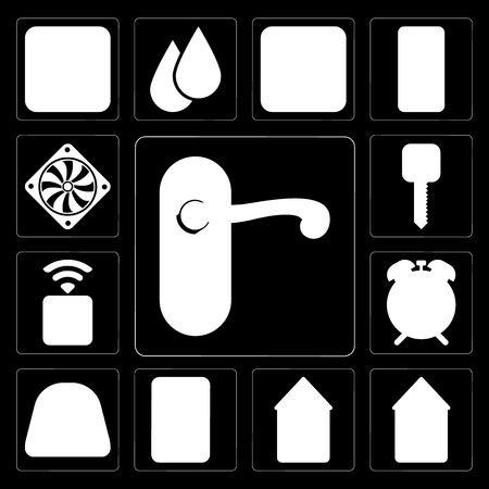 Set Of 13 simple editable icons such as Doorknob, Home, Smart home, Plug, Dial, Alarm, Socket, key, Cooler on black background