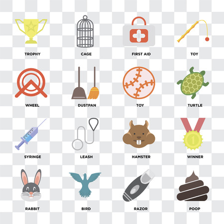 Set Of 16 icons such as Poop, Razor, Bird, Rabbit, Winner, Trophy, Wheel, Syringe, Toy on transparent background, pixel perfect
