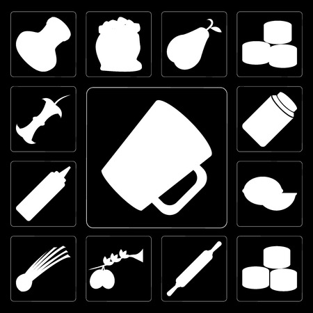 Set Of 13 simple editable icons such as Mug, Sushi, Rolling pin, Olives, Chives, Lime, Mustard, Honey, Apple on black background