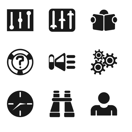 Set Of 9 simple editable icons such as User, Binoculars, Clock, Settings, Speaker, Help, Reading, Controls, can be used for mobile, pixel perfect vector icon pack