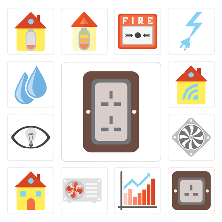 Set Of 13 simple editable icons such as Plug, Chart, Air conditioner, Home, Cooler, Smart, Water, web ui icon pack