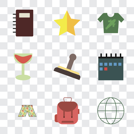 Set Of 9 simple transparency icons such as Globe, Backpack, Swimsuit, Calendar, Stamp, Cocktail, Shirt, Star, Notebook, can be used for mobile, pixel perfect vector icon pack on transparent Stock Illustratie