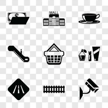 Set Of 9 simple transparency icons such as Cctv, Train, Road, Cosmetics, Shopping basket, Escalator, Coffee cup, Mall, Wallet, can be used for mobile, pixel perfect vector icon pack on transparent