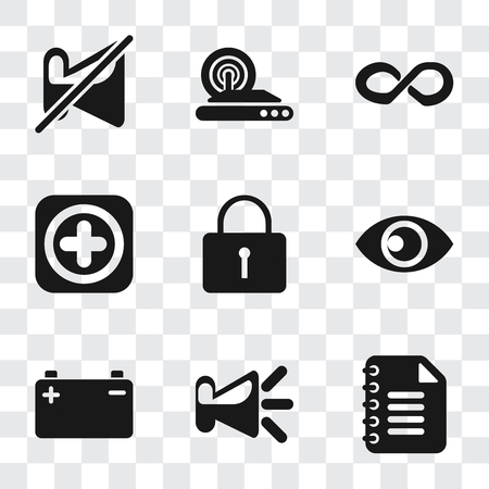 Set Of 9 simple transparency icons such as Notepad, Speaker, Battery, View, Locked, Add, Infinity, Wireless internet, Muted, can be used for mobile, pixel perfect vector icon pack on transparent
