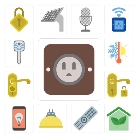 Set Of 13 simple editable icons such as Plug, Smart home, Remote, Lightbulb, Mobile, Handle, Doorknob, Thermostat, key, web ui icon pack