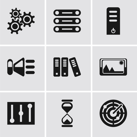 Set Of 9 simple editable icons such as Radar, Hourglass, Controls, Picture, Archive, Speaker, Server, Database, Settings, can be used for mobile, pixel perfect vector icon pack