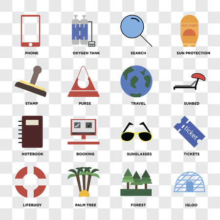 Set Of 16 icons such as Igloo, Forest, Palm tree, Lifebuoy, Tickets, Phone, Stamp, Notebook, Travel on transparent background, pixel perfect