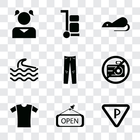 Set Of 9 simple transparency icons such as Parking, Open, Shirt, No camera, Jeans, Wave, Rats, Trolley, Girl, can be used for mobile, pixel perfect vector icon pack on transparent background Ilustração