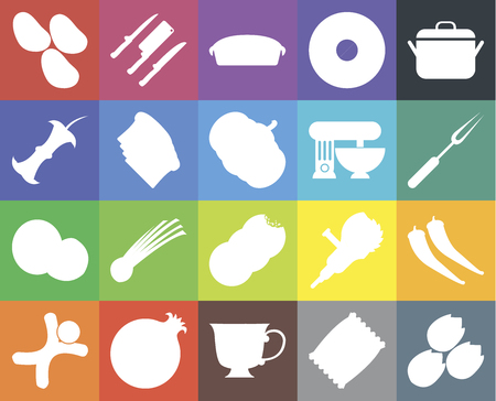 Set Of 20 icons such as Pistachio, Chips, Tea, Pomegranate, Gingerbread, Pot, Pepper, Cookies, Coconut, Toast, Mixer, Potatoes, Fork, Pie, web UI editable icon pack, pixel perfect Illustration