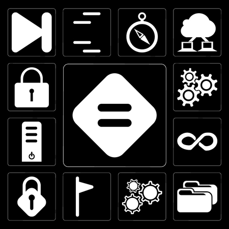 Set Of 13 simple editable icons such as Equal, Folder, Settings, Flag, Lock, Infinity, Server, Locked on black background
