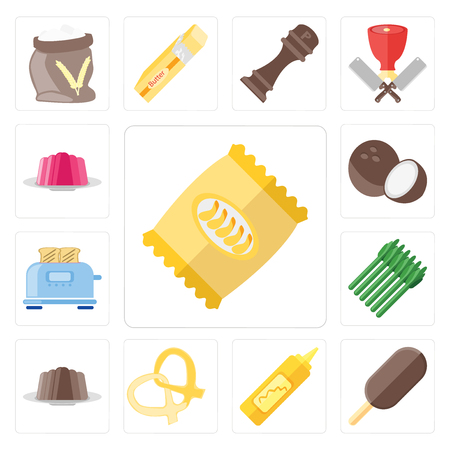 Set Of 13 simple editable icons such as Chips, Ice cream, Mustard, Pretzel, Pudding, Asparagus, Toaster, Coconut, Jelly, web ui icon pack Illustration