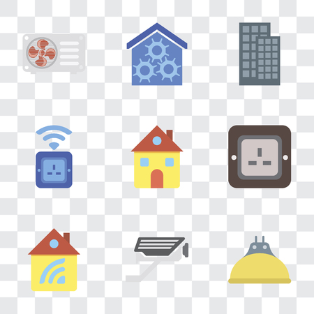 Set Of 9 simple transparency icons such as Lightbulb, Cctv, Home, Plug, Socket, Smart home, Air conditioner, can be used for mobile, pixel perfect vector icon pack on transparent