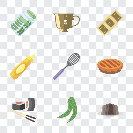 Set Of 9 simple transparency icons such as Pudding, Peas, Sushi, Pie, Whisk, Mustard, Biscuit, Tea, Pickles, can be used for mobile, pixel perfect vector icon pack on transparent background