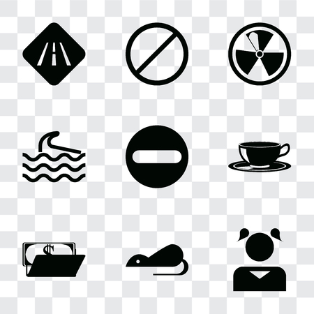 Set Of 9 simple transparency icons such as Girl, Rats, Wallet, Coffee cup, Forbidden, Wave, Radiation, Road, can be used for mobile, pixel perfect vector icon pack on transparent Stock Illustratie