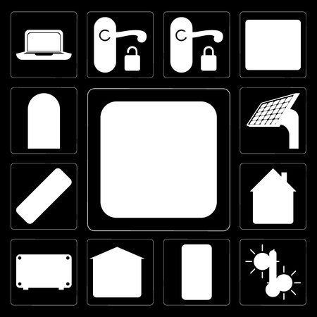 Set Of 13 simple editable icons such as Plug, Temperature, Mobile phone, Garage, Air conditioner, Home, Remote, Panel, Door on black background Banque d'images - 111925368