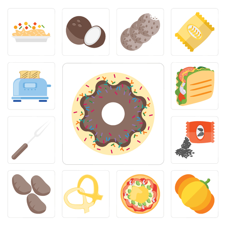Set Of 13 simple editable icons such as Doughnut, Pumpkin, Pizza, Pretzel, Potatoes, Seeds, Fork, Taco, Toaster, web ui icon pack
