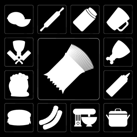 Set Of 13 simple editable icons such as Pasta, Pot, Mixer, Sausage, Hamburguer, Mustard, Flour, Ham, Butcher on black background