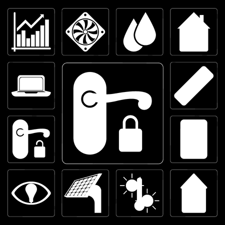 Set Of 13 simple editable icons such as Handle, Home, Temperature, Panel, Smart, Plug, Remote, Laptop on black background Иллюстрация