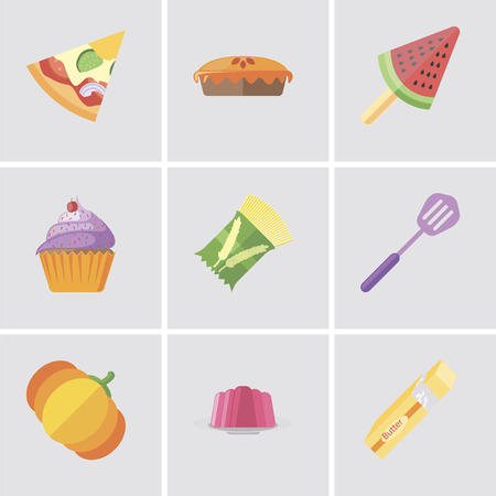 Set Of 9 simple editable icons such as Butter, Jelly, Pumpkin, Spatula, Pasta, Cupcake, Ice cream, Pie, Pizza, can be used for mobile, pixel perfect vector icon pack Stock Illustratie