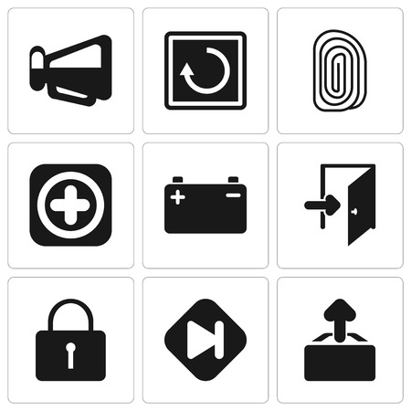 Set Of 9 simple editable icons such as Upload, Skip, Locked, Exit, Battery, Add, Fingerprint, Restart, Megaphone, can be used for mobile, pixel perfect vector icon pack