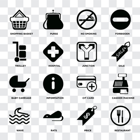 Set Of 16 icons such as Restaurant, Price, Rats, Wave, Cashier machine, Shopping basket, Trolley, Baby carriage, Junction on transparent background, pixel perfect