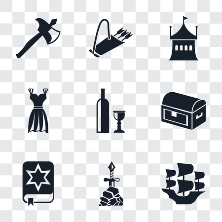 Set Of 9 simple transparency icons such as Caravel, Excalibur, Spellbook, Chest, Wine, Gown, Tent, Quiver, Axe, can be used for mobile, pixel perfect vector icon pack on transparent background