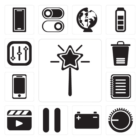 Set Of 13 simple editable icons such as Magic wand, Volume control, Battery, Pause, Video player, Note, Smartphone, Trash, Controls, web ui icon pack Illustration