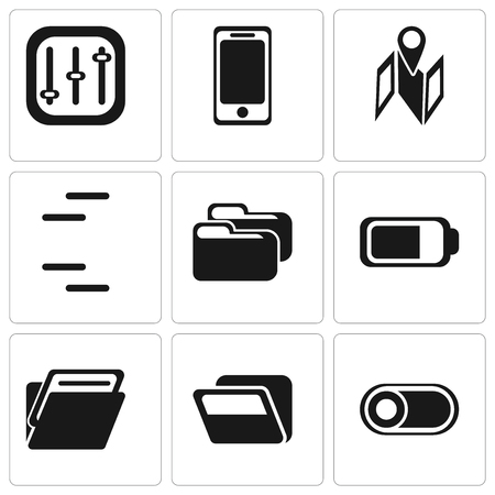 Set Of 9 simple editable icons such as Switch, Folder, Battery, Map, Smartphone, Controls, can be used for mobile, pixel perfect vector icon pack