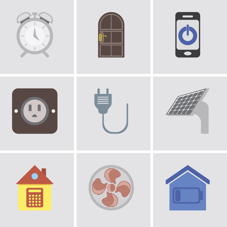 Set Of 9 simple editable icons such as Smart home, Fan, Home, Panel, Plug, Smartphone, Door, Alarm, can be used for mobile, pixel perfect vector icon pack