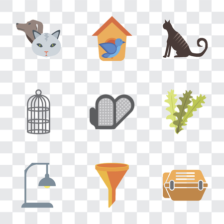 Set Of 9 simple transparency icons such as Animal carrier, Filter, Lamp, Seaweed, Grooming glove, Cage, Cat, Bird house, Pet, can be used for mobile, pixel perfect vector icon pack on transparent