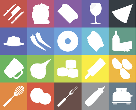 Set Of 20 icons such as Toaster, Mustard, Fork, Coconut, Whisk, Pizza, Potatoes, Sushi, Mug, Pepper, Toast, Knives, Dairy, Bread, web UI editable icon pack, pixel perfect