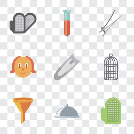 Set Of 9 simple transparency icons such as Glove, Food, Filter, Cage, Nail clippers, Dog, trimmer, Test tube, Grooming glove, can be used for mobile, pixel perfect vector icon pack on