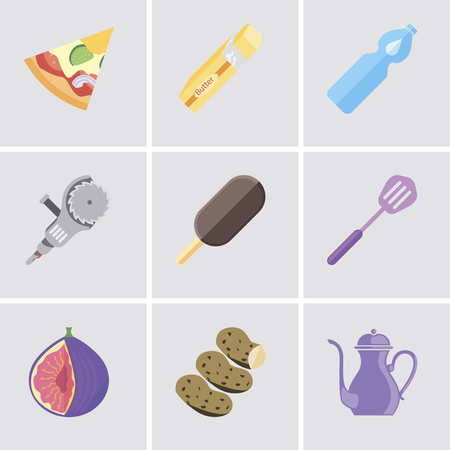 Set Of 9 simple editable icons such as Teapot, Potatoes, Fig, Spatula, Ice cream, Grinder, Water, Butter, Pizza, can be used for mobile, pixel perfect vector icon pack