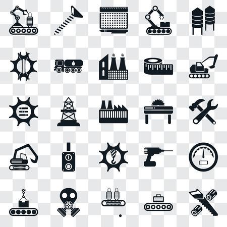 Ensemble de 25 icônes transparentes telles que la coupe du bois, le convoyeur, le masque à gaz, l'excavatrice, la scie, les machines, l'excavatrice, les paramètres, l'impression, la vis, le pack d'icônes de transparence de l'interface utilisateur Web