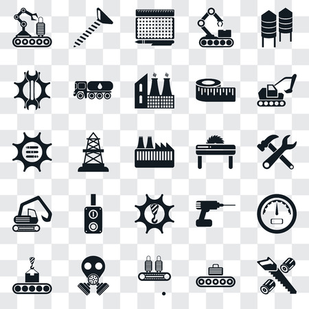 Set Of 25 transparent icons such as Wood cutting, Conveyor, Gas mask, Excavator, Saw, Machinery, Digger, Settings, print, Screw, web UI transparency icon pack