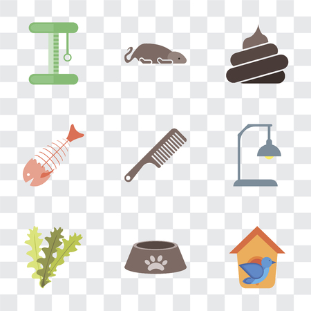 Set Of 9 simple transparency icons such as Bird house, Dog food, Seaweed, Lamp, Comb, Fish bone, Poop, Mouse, Platform, can be used for mobile, pixel perfect vector icon pack on transparent