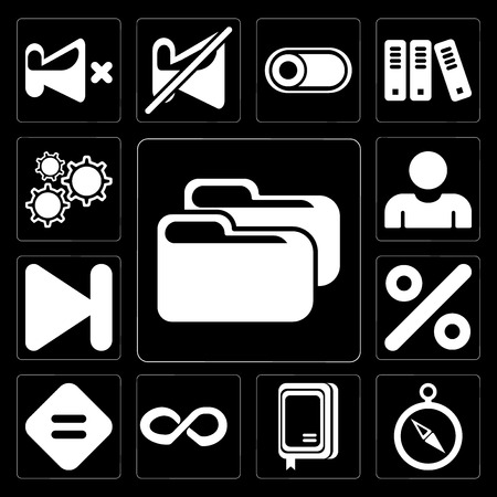 Set Of 13 simple editable icons such as Folder, Compass, Notebook, Infinity, Equal, Percent, Next, User, Settings on black background