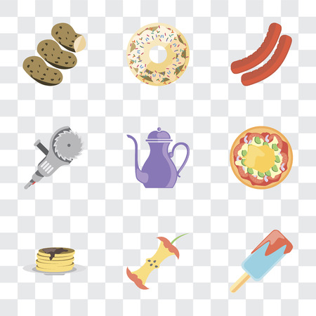 Set Of 9 simple transparency icons such as Ice cream, Apple, Pancakes, Pizza, Teapot, Grinder, Sausage, Doughnut, Potatoes, can be used for mobile, pixel perfect vector icon pack on transparent