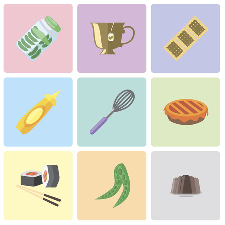 Set Of 9 simple editable icons such as Pudding, Peas, Sushi, Pie, Whisk, Mustard, Biscuit, Tea, Pickles, can be used for mobile, pixel perfect vector icon pack