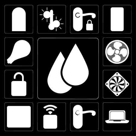 Set Of 13 simple editable icons such as Water, Laptop, Doorknob, Socket, Browser, Cooler, Unlock, Fan, Smart on black background