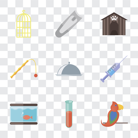 Set Of 9 simple transparency icons such as Parrot, Test tube, Aquarium, Syringe, Food, Toy, Kennel, Nail clippers, Bird cage, can be used for mobile, pixel perfect vector icon pack on transparent