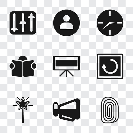 Set Of 9 simple transparency icons such as Fingerprint, Megaphone, Magic wand, Restart, Television, Reading, Clock, User, Controls, can be used for mobile, pixel perfect vector icon pack on