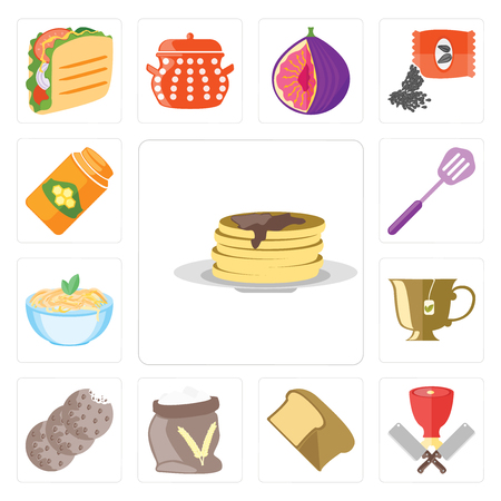 Set Of 13 simple editable icons such as Pancakes, Butcher, Bread, Flour, Cookies, Tea, Pasta, Spatula, Honey, web ui icon pack Ilustração