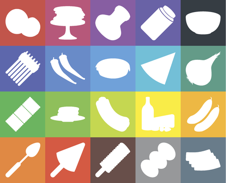 Set Of 20 icons such as Bacon, Coffee, Ice cream, Spoon, Bowl, Cucumber, Hot dog, Biscuit, Pepper, Pizza, Coconut, Onion, Salt, web UI editable icon pack, pixel perfect