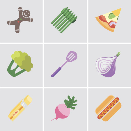 Set Of 9 simple editable icons such as Hot dog, Radish, Butter, Onion, Spatula, Cauliflower, Pizza, Asparagus, Gingerbread, can be used for mobile, pixel perfect vector icon pack
