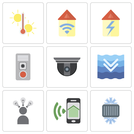 Set Of 9 simple editable icons such as Cool, Smartphone, Smart, Deep, Security camera, Intercom, Home, Automation, Temperature, can be used for mobile, pixel perfect vector icon pack